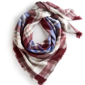 Apt. 9 Plaid Square Blanket Scarf Wine Color
